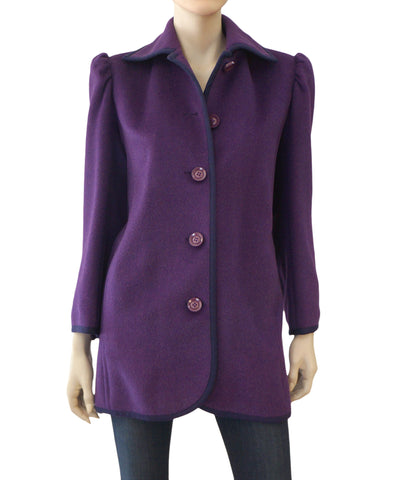 YVES SAINT LAURENT RIVE GAUCHE Vintage Purple Wool Coat Jacket 36 US 4