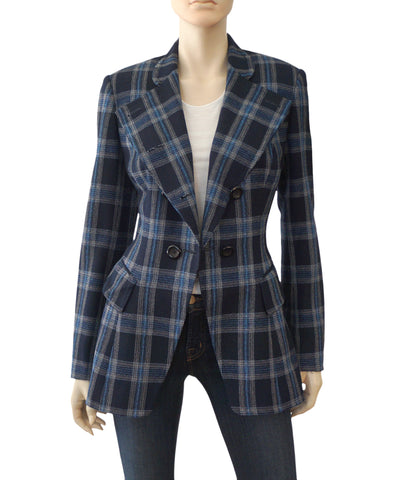 BESPOKE SAVILLE ROW Navy Plaid Tartan Woven Cotton Blend Blazer Jacket 4