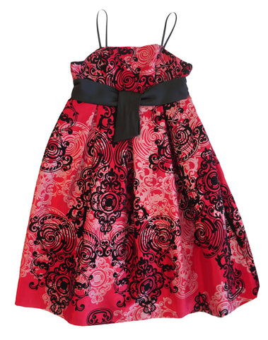 PIPPA & JULIE Girl's Sleeveless Red Brocade Print Empire Party Dress 9 NEW