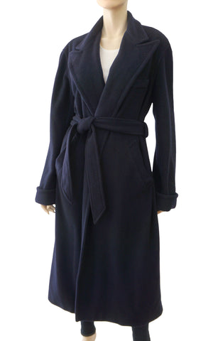 RALPH LAUREN COLLECTION Long Belted Navy Cashmere Coat 8