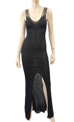 CHRISTIAN DIOR Pointelle Knit Evening Gown, FR 40 / US 4