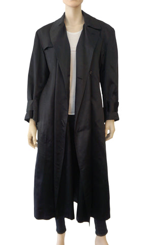RALPH LAUREN Blue Label Black Silk Long Trench Oversized Coat Jacket 4