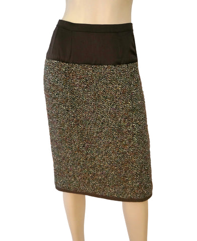 CHANEL Skirt Brown Green Wool Boucle Straight Pencil US 10