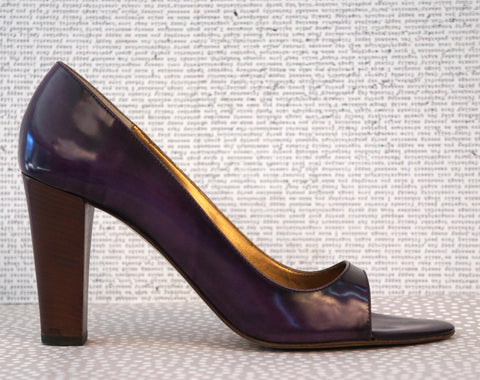 CHARLES NOLAN 39.5 Glossed Purple Leather Open Toe Pumps Heels 9.5