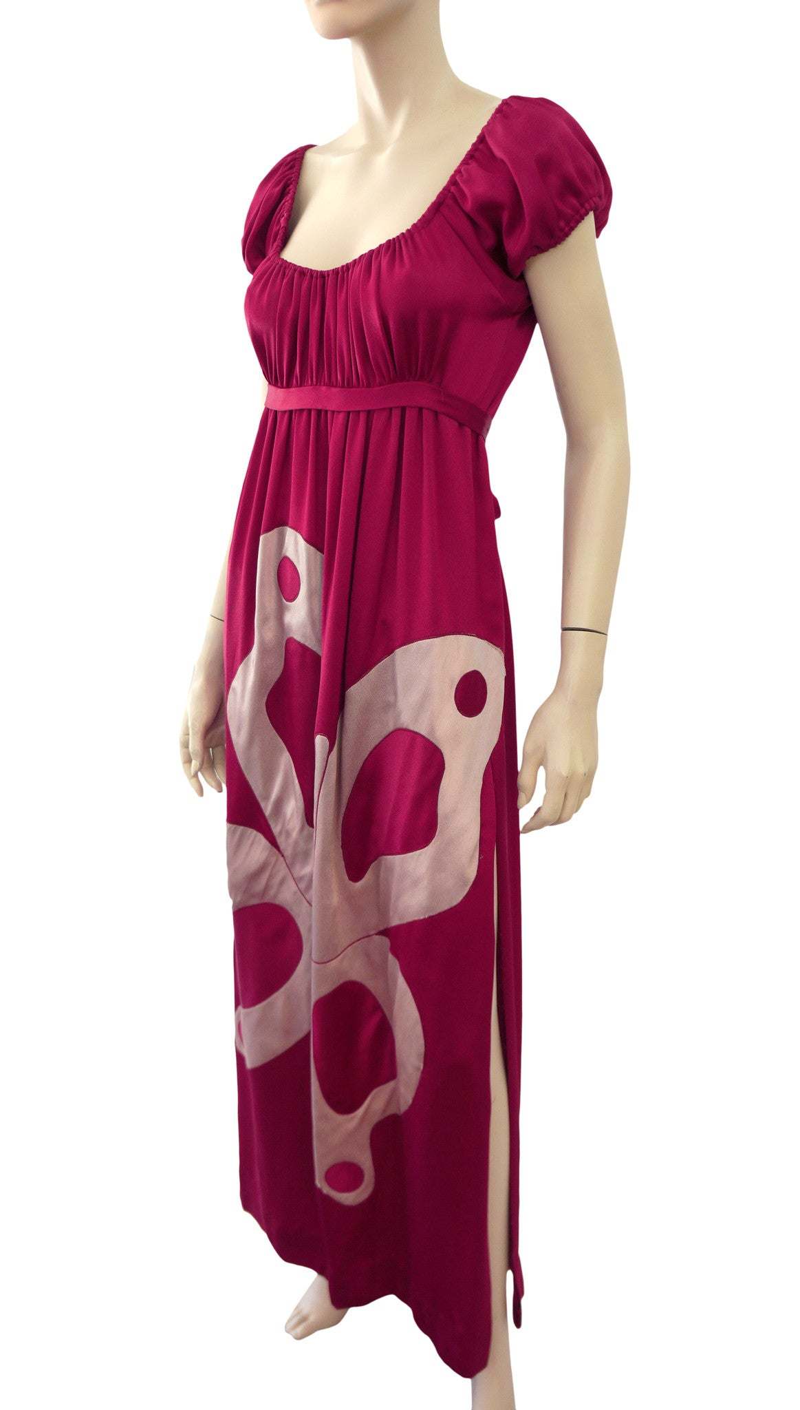 ee1bf501847209 ANNE FOGARTY Vintage 70s Red Sateen Pop Art Butterfly Applique Maxi Dress S