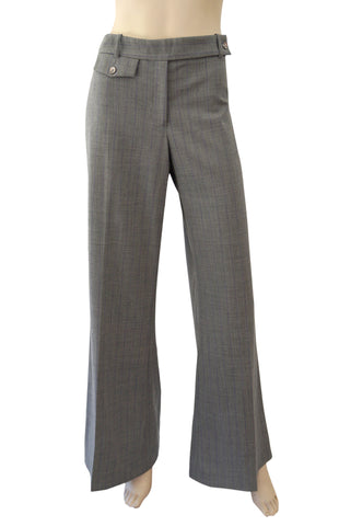 MICHAEL KORS COLLECTION Gray Stretch Wool Purple Pinstripe Wide-Leg Pants Sz 10