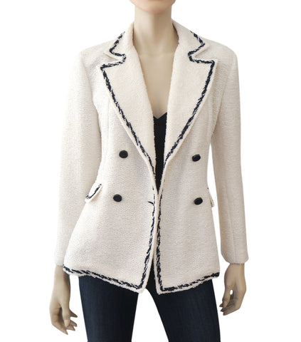 CH CAROLINA HERRERA Textured White Tweed Blazer Double Breasted Jacket 10
