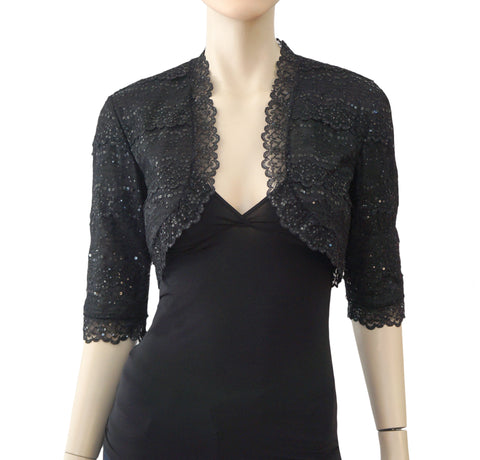 CAROLINA HERRERA Sequin Embellished Black Lace Bolero 3/4 Sleeve Jacket Shrug 8