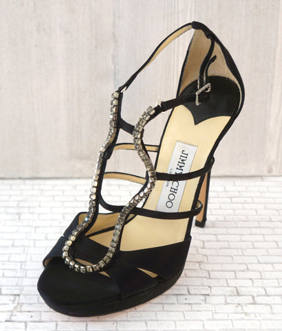 JIMMY CHOO 37 Black Satin Crystal Embellished Strappy Platform Sandals Heels 6.5