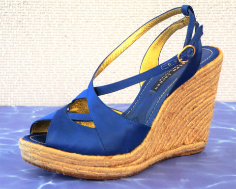 RALPH LAUREN COLLECTION 9 Cobalt Silk Jute Wedge Platform Espadrilles
