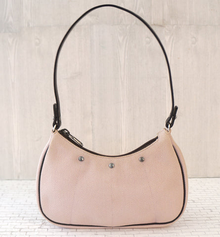 YVES SAINT LAURENT Leather Trim Orchid Pink Canvas Pochette Bag
