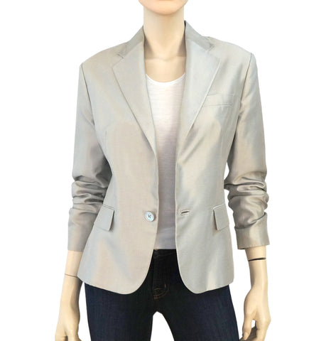 RALPH LAUREN BLACK LABEL Silver Gray Cotton Silk Blend Blazer Jacket 12 NEW