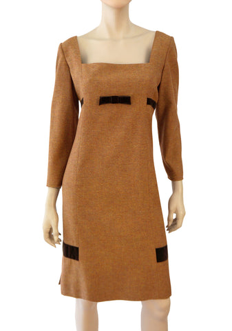 VALENTINO Wool Tweed Sheath Dress, Sz 10