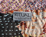 RITUAL Reversible Recycled Silk Stitched Scarf Handcrafted