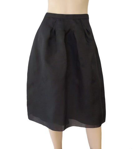 CHRISTIAN DIOR Pleated Black Organza Silk Midi Skirt 40 US 8