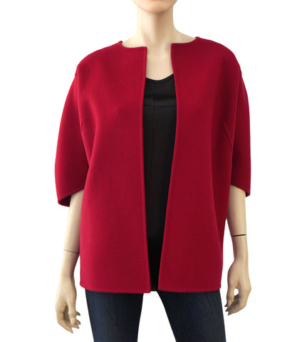 MICHAEL KORS COLLECTION Red Wool Half Sleeve Coat Jacket L NEW