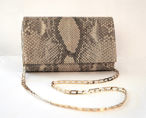 CARLOS FALCHI Metallic Snake Embossed Leather Gold Chain Convertible Clutch