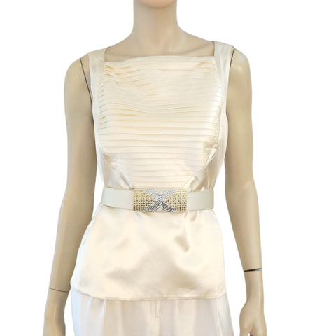 ST. JOHN Ivory Silk Crystal Embellished Waist Belt Velcro Closure S M