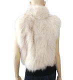 ADRIENNE LANDAU Blonde White Fox Fur Vest M NEW