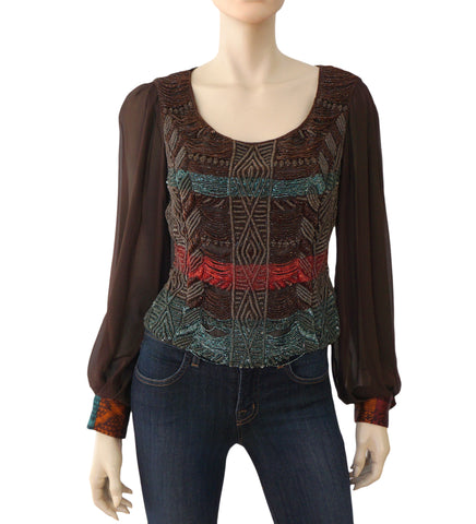 ALMA COUTURE Vintage Brown Velvet and Silk Beaded Embellished Blouse S
