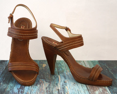 MARNI 39 Cognac Brown Leather Platform Sandals Heels 8.5