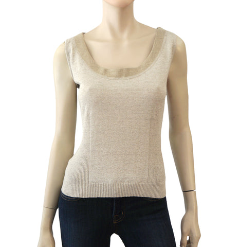 VALENTINO Womens Top Natural Beige Cotton Knit Linen Sleeveless Sweater L NEW