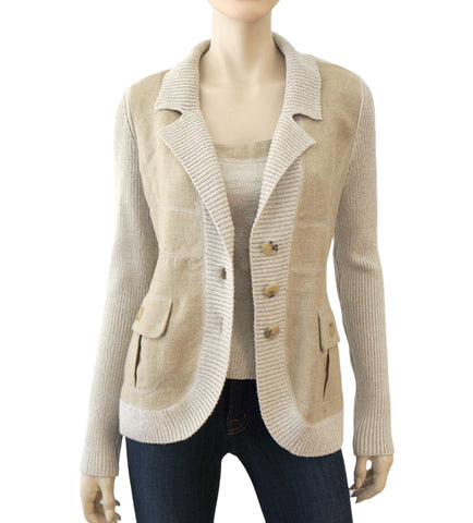 VALENTINO Womens Jacket Natural Beige Linen Cotton Knit Coat M NEW