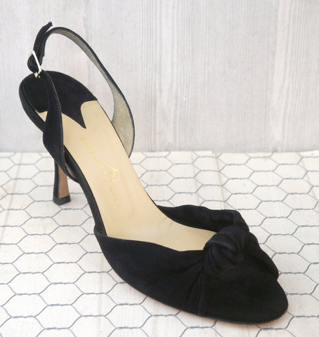 ALEXANDRA NEEL 38.5 Black Suede Knotted Strappy Slingback Heels Sandals 8