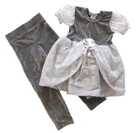 NESTING BABY Tulle Trim Princess Dress and Leggings w/ Tags, 3T