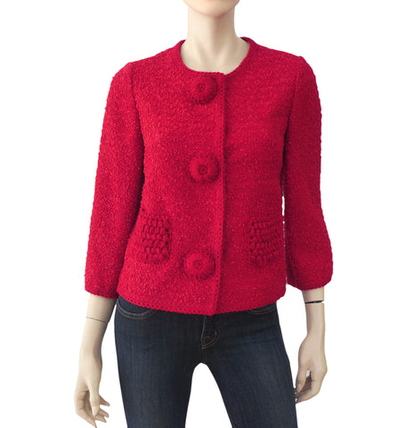 0c6c718fa ANDREW GN Crimson Red Wool Tweed Jacket 40 US 8