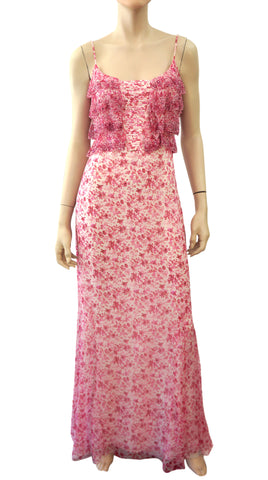 BADGLEY MISCHKA White Pink Floral Silk Spaghetti Strap Maxi Dress 8