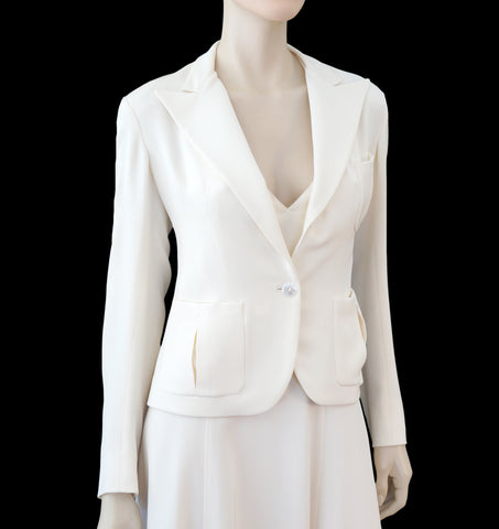 RALPH LAUREN COLLECTION Cropped Ivory Silk Peaked Lapel Blazer Jacket 6