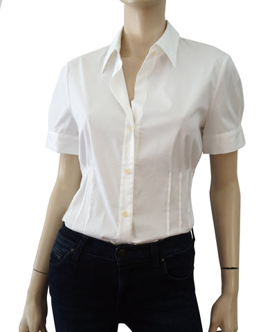 THEORY Short Sleeve White Stretch Cotton Pleated Button Blouse L NEW WITH TAGS