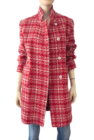 MARNI Red White Wool Tweed Plaid Coat Jacket 40 US 4