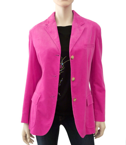 RALPH LAUREN BLUE LABEL Pink Corduroy Blazer Jacket 14 NEW