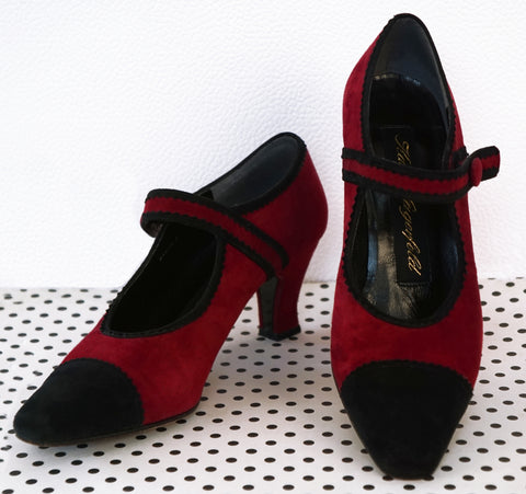 KARL LAGERFELD 5.5 Black Cap Toe Maroon Suede Mary Jane Pumps Heels