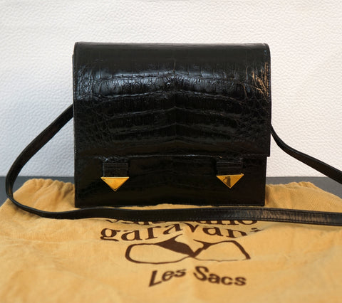 NIGHT by VALENTINO GARAVANI Vintage Croc Embossed Leather Clutch Shoulder Bag