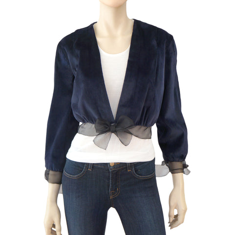 CAROLINA HERRERA Velvet Cropped Jacket, Sz 6/8