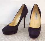 JIMMY CHOO 40 Cosmic Dark Plum Purple Suede Platform Pumps Heels 9.5