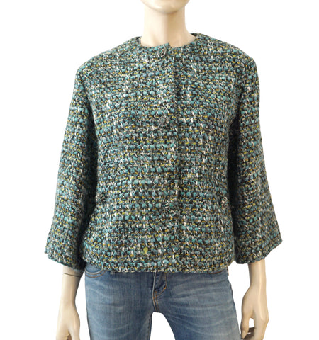 DOLCE & GABBANA Multicolor Blue Boucle Tweed Crystal Button Jacket 8
