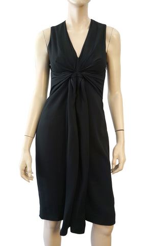 ALTUZZARA Sleeveless Draped Black Crepe Cut Out Dress 40 US 4