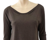 ALICE LEMOINE Long Sleeve Gray Brown Cashmere Silk T-Shirt Top S NEW