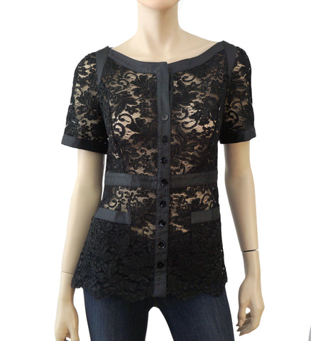 MARIELLA BURANI Lace Button Front Top, Medium