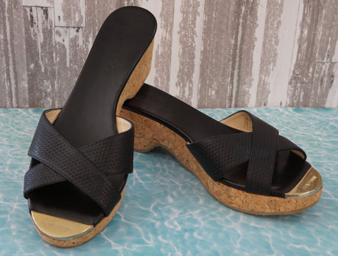 JIMMY CHOO Black Panna Wedges w/Tags, 39.5/9