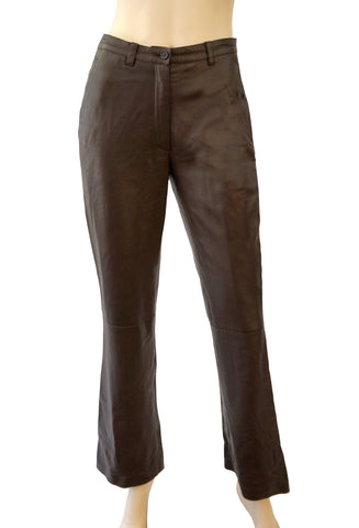 PRADA Brown Leather Pants IT 42 Straight Leg 6