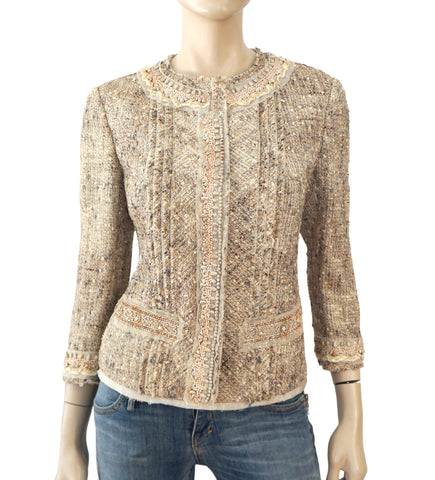 PRADA Embellished 3/4 Sleeve Beige Silk Linen Wool Tweed Jacket 44 US 8