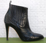 BRIAN ATWOOD 36.5 Black Patent Leather Point Toe Ankle Boots Booties 6.5