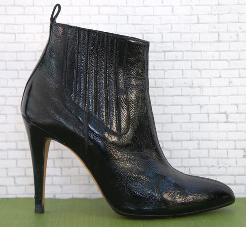 BRIAN ATWOOD 36.5 Black Patent Leather Ankle Boots 6.5