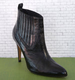 BRIAN ATWOOD 36.5 Black Patent Leather Point Toe Ankle Boots Booties 5.5
