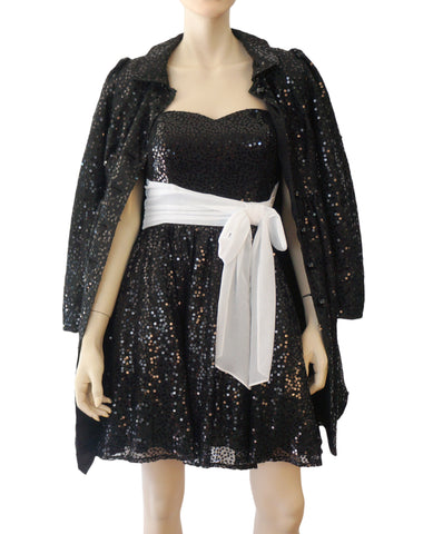 BETSEY JOHNSON Strapless Black Sequin Fit Flare Dress and Princess Coat 4